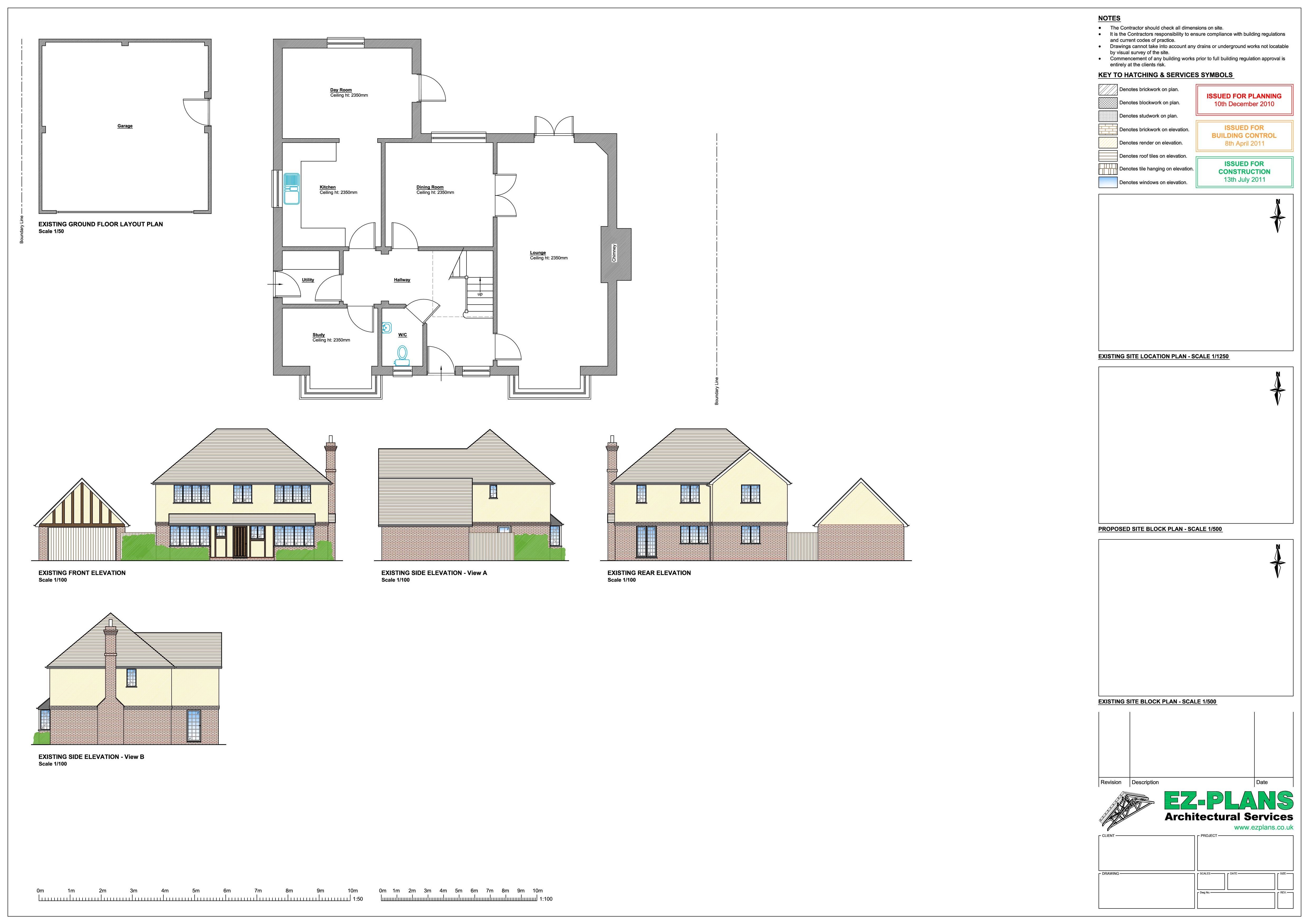 House design brief example - Site Drawings